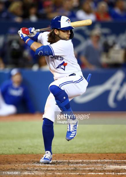 Bo Bichette of the Toronto Blue Jays strikes out swinging in the sixth inning during a MLB game against the Boston Red Sox at Rogers Centre on...