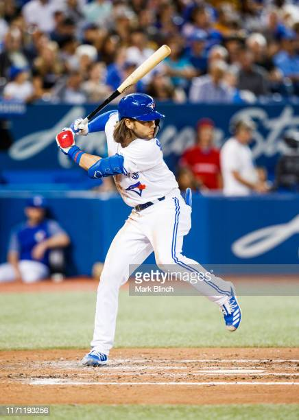 Bo Bichette of the Toronto Blue Jays takes an at bat against the Atlanta Braves in the third inning during their MLB game at the Rogers Centre on...
