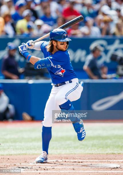 Bo Bichette of the Toronto Blue Jays takes an at bat against the Houston Astros in the first inning during their MLB game at the Rogers Centre on...