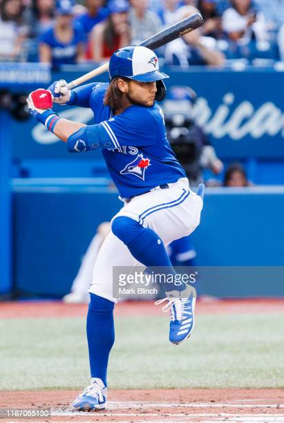 Bo Bichette of the Toronto Blue Jays takes his at bat against the New York Yankees in the first inning during their MLB game at the Rogers Centre on...