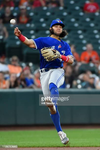 Bo Bichette of the Toronto Blue Jays throws to first base during the third inning against the Baltimore Orioles at Oriole Park at Camden Yards on...