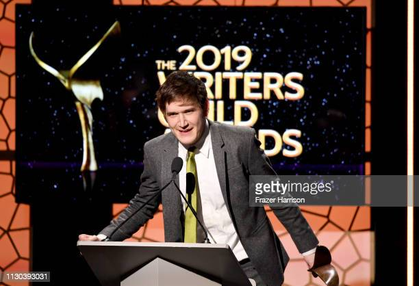 Bo Burnham accepts an award onstage during the 2019 Writers Guild Awards LA Ceremony at The Beverly Hilton Hotel on February 17 2019 in Beverly Hills...