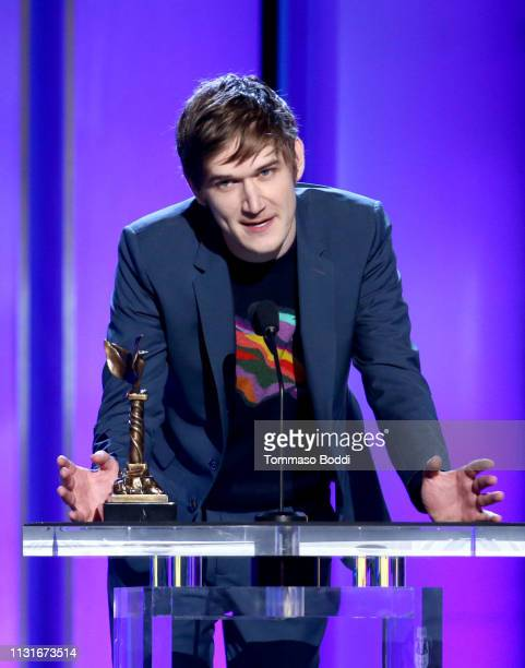 "Bo Burnham accepts Best First Screenplay for ""Eighth Grade"" onstage during the 2019 Film Independent Spirit Awards on February 23 2019 in Santa..."