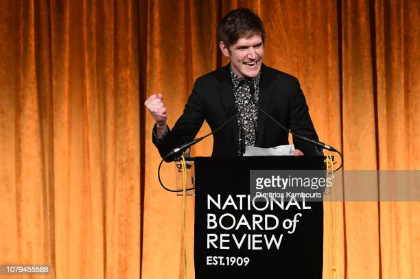 Bo Burnham accepts the Best Directorial Debut award for Eighth Grade onstage during The National Board of Review Annual Awards Gala at Cipriani 42nd...