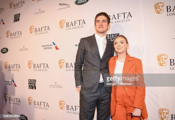 Bo Burnham and Elsie Fisher arrive at the BAFTA Los Angeles Tea Party at the Four Seasons Hotel Los Angeles in Beverly Hills on January 05 2019 in...