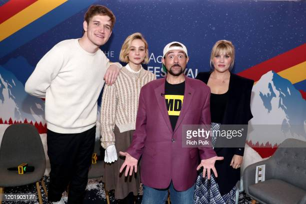Bo Burnham Carey Mulligan Emerald Fennell of 'Promising Young Woman' and Kevin Smith attend the IMDb Studio at Acura Festival Village on location at...