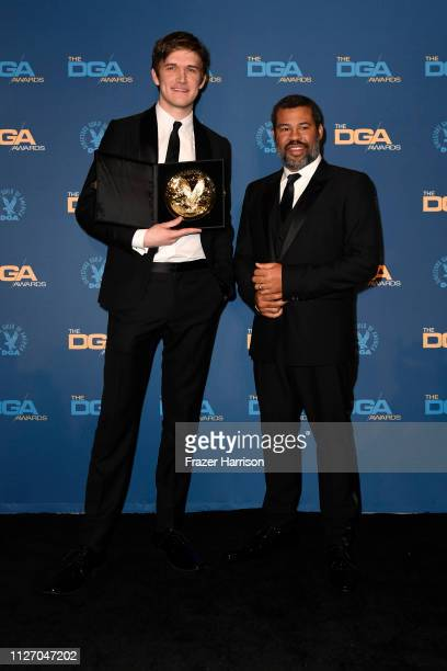 Bo Burnham poses in the press room with his FirstTime Feature Award for Eighth Grade with presenter Jordan Peele during the 71st Annual Directors...