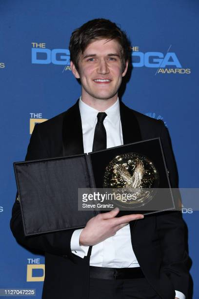 Bo Burnham poses in the press room with his FirstTime Feature Award for Eighth Grade during the 71st Annual Directors Guild Of America Awards at The...