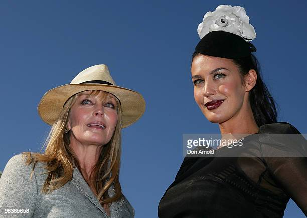 Bo Derek and Megan Gale attend Derby Day races at Royal Randwick Racecourse on April 10 2010 in Sydney Australia