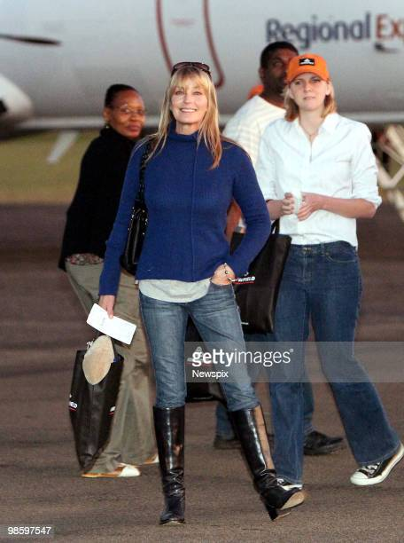 Bo Derek prepares to board a plane at Scone Airport in the Upper Hunter Valley after a day touring the region's horse studs on April 15 in the Hunter...