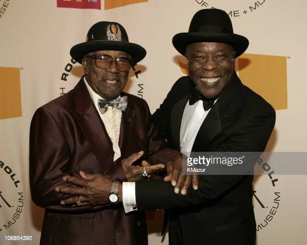 Bo Diddley and Buddy Guy inductee during 20th Annual Rock and Roll Hall of Fame Induction Ceremony Red Carpet at Waldorf Astoria in New York City New...