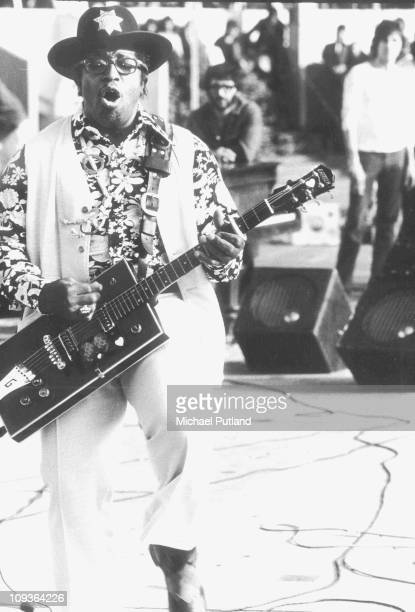 Bo Diddley performs on stage at The London Rock 'n' Roll show Wembley Stadium London 5th August 1972