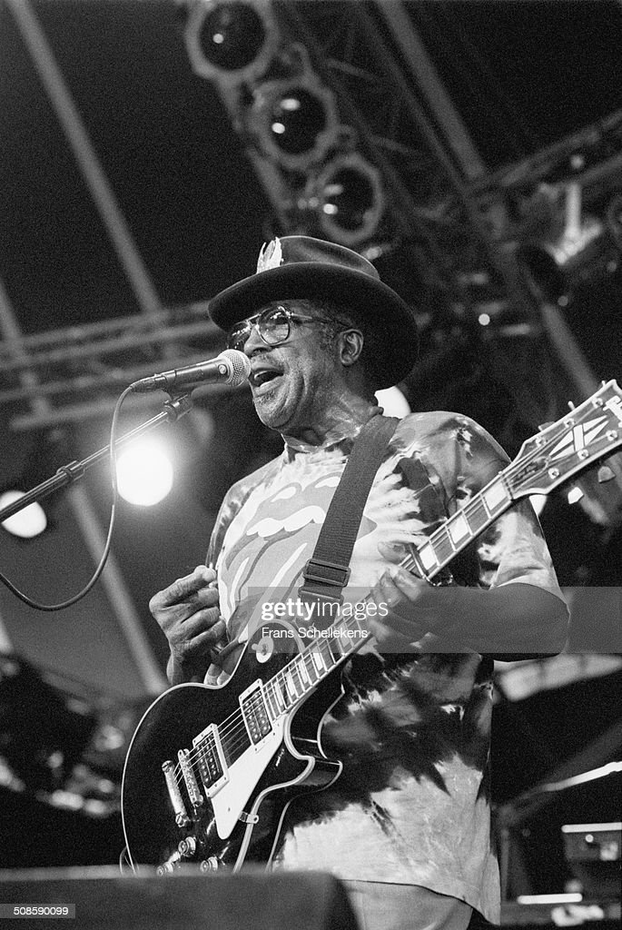 Bo Diddley, vocal-guitar, at the North Sea Jazz Festival in the Hague, Netherlands on 16th July 1995.