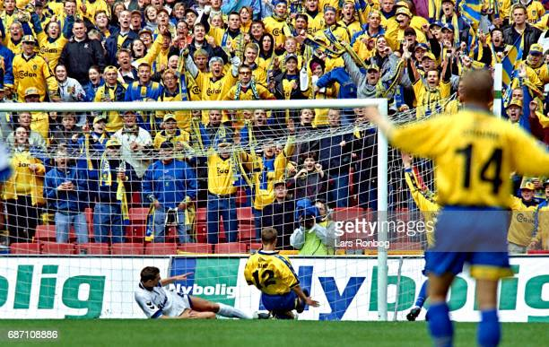 Bo Hansen of Brondby IF scores the 10 goal with team mate Ebbe Sand gliding in to the goal during the Danish Cup Final Compaq Cup match between FC...