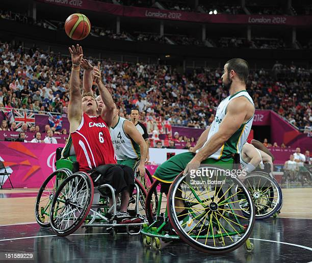Bo Hedges of Canada fires in a shot during the gold medal Wheelchair Basketball match between Australia and Canada on day 10 of the London 2012...
