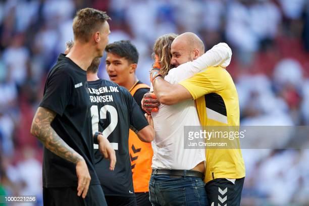 Bo Henriksen head coach of AC Horsens and Goalkeeper Matej Delac of AC Horsens celebrate after the Danish Superliga match between FC Copenhagen and...