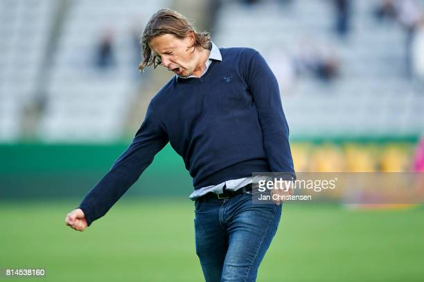 Bo Henriksen head coach of AC Horsens celebrate after the Danish Alka Superliga match between AGF Arhus and AC Horsens at Ceres Park on July 14 2017...