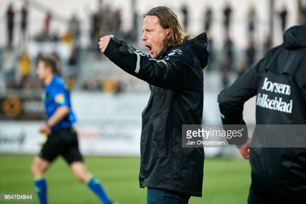 Bo Henriksen head coach of AC Horsens celebrate after the Danish Alka Superliga match between AC Horsens and AaB Aalborg at Casa Arena Horsens on May...
