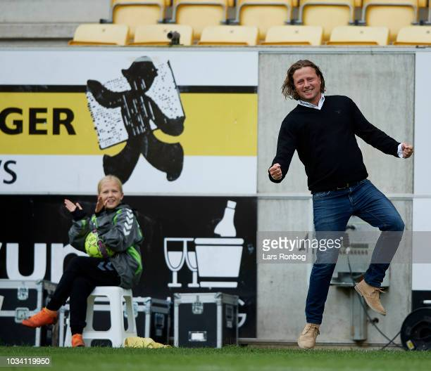 Bo Henriksen head coach of AC Horsens celebrates after scoring their third goal during the Danish Superliga match between AC Horsens and AGF Aarhus...