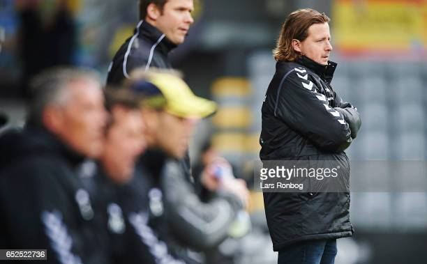 Bo Henriksen head coach of AC Horsens looks on during the Danish Alka Superliga match between AC Horsens and Brondby IF at Casa Arena Horsens on...