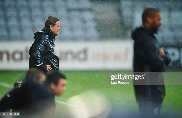 Bo Henriksen head coach of AC Horsens looks on during the Danish Alka Superliga match between Randers FC and FC Copenhagen at BioNutria Park on July...