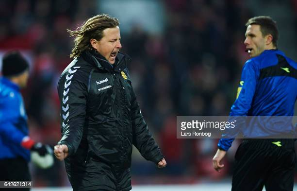 Bo Henriksen head coach of AC Horsens shows frustration during the Danish Alka Superliga match between Silkeborg IF and AC Horsens at Mascot Park on...