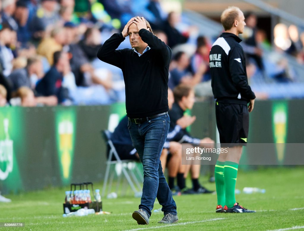 Bo Henriksen, head coach of AC Horsens shows frustration during the Danish Alka Superliga match between Brondby IF and AC Horsens at Brondby Stadion on August 27, 2017 in Brondby, Denmark.