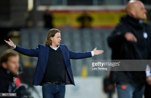 Bo Henriksen head coach of AC Horsens shows frustration during the Danish Alka Superliga match between AC Horsens and FC Copenhagen at CASA Arena on...