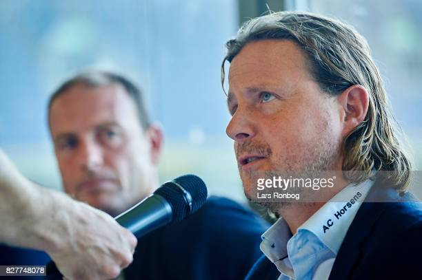 Bo Henriksen head coach of AC Horsens speaking during the Danish Alka Superliga media event at Brondby Stadion on August 8 2017 in Brondby Denmark