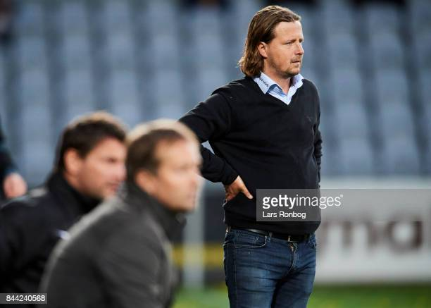 Bo Henriksen manager of AC Horsens looks on during the Danish Alka Superliga match between AC Horsens and FC Nordsjalland at CASA Arena Horsens on...