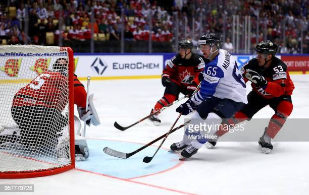Bo Horvat of Canada and Sakari Manninen of Finland during the 2018 IIHF Ice Hockey World Championship Group B game between Canada and Finland at...