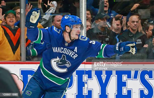 Bo Horvat of the Vancouver Canucks celebrates after a Vancouver goal during their NHL game against the Colorado Avalanche at Rogers Arena November 2...