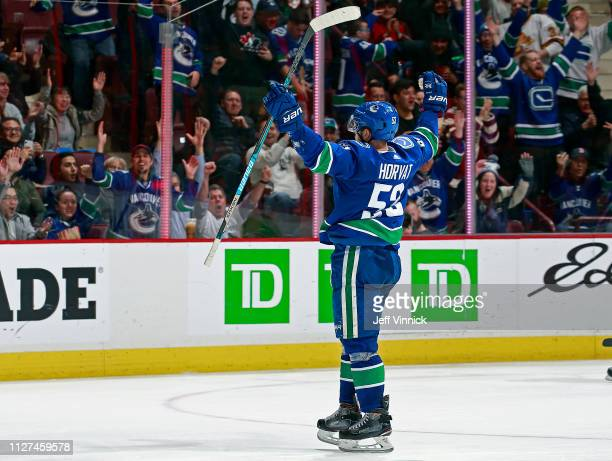 Bo Horvat of the Vancouver Canucks celebrates after scoring during their NHL game against the Anaheim Ducks at Rogers Arena February 25 2019 in...
