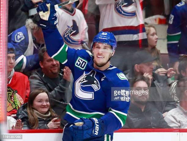 Bo Horvat of the Vancouver Canucks celebrates after scoring during their NHL game against the Chicago Blackhawks at Rogers Arena January 2, 2020 in...