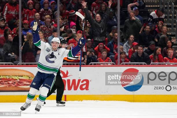 Bo Horvat of the Vancouver Canucks celebrates after scoring the game winning goal in a shootout against the Washington Capitals at Capital One Arena...