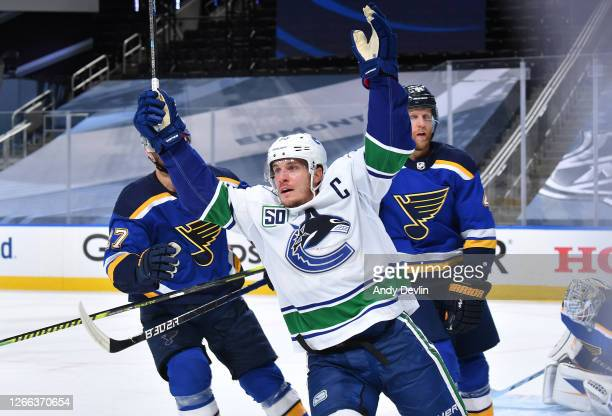 Bo Horvat of the Vancouver Canucks celebrates after scoring the game-winning goal in the first overtime period of Game Two of the Western Conference...