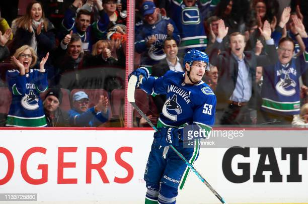 Bo Horvat of the Vancouver Canucks celebrates his goal during their NHL game against the Anaheim Ducks at Rogers Arena February 25 2019 in Vancouver...