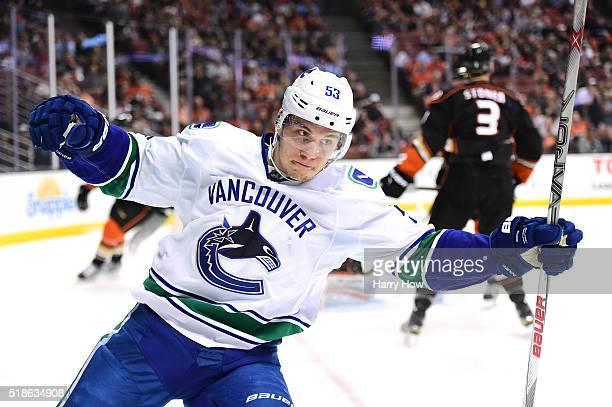 Bo Horvat of the Vancouver Canucks celebrates his goal to tie the score 11 against the Anaheim Ducks during the second period at Honda Center on...