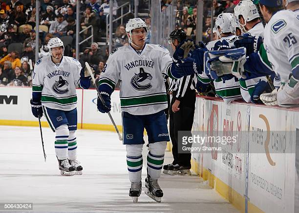 Bo Horvat of the Vancouver Canucks celebrates his goal with teammates during the third period against the Pittsburgh Penguins at Consol Energy Center...