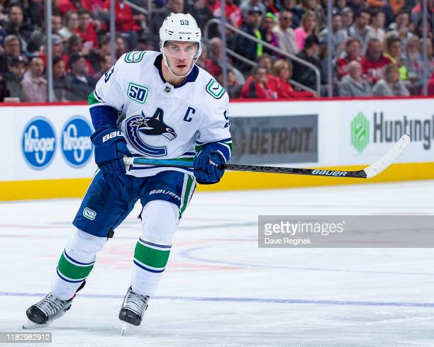 Bo Horvat of the Vancouver Canucks follows the play against the Detroit Red Wings during an NHL game at Little Caesars Arena on October 22, 2019 in...
