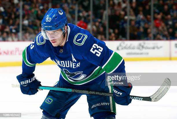 Bo Horvat of the Vancouver Canucks lines up for a face-off during their NHL game against the Winnipeg Jets at Rogers Arena December 22, 2018 in...