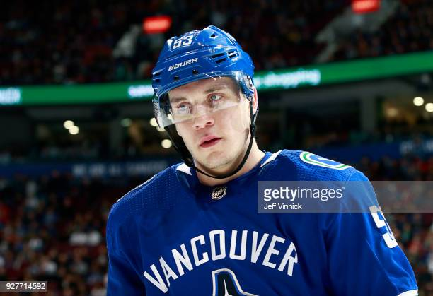 Bo Horvat of the Vancouver Canucks looks on from the bench during their NHL game against the Chicago Blackhawks at Rogers Arena December 28 2017 in...