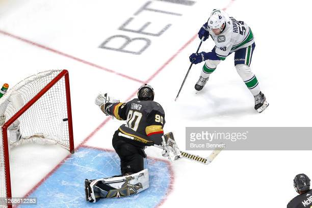 Bo Horvat of the Vancouver Canucks scores a goal past Robin Lehner of the Vegas Golden Knights during the third period in Game Two of the Western...