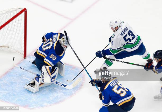 Bo Horvat of the Vancouver Canucks scores a shorthanded goal at 7:23 of the first period against Jordan Binnington of the St. Louis Blues in Game Two...