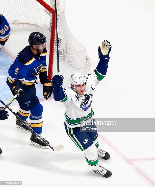 Bo Horvat of the Vancouver Canucks scores the game winner at 5:55 of overtime against Jordan Binnington of the St. Louis Blues in Game Two of the...