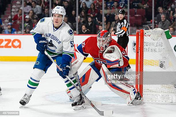 Bo Horvat of the Vancouver Canucks screens goaltender Mike Condon of the Montreal Canadiens during the NHL game at the Bell Centre on November 16...