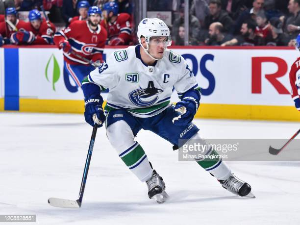Bo Horvat of the Vancouver Canucks skates against the Montreal Canadiens during the third period at the Bell Centre on February 25, 2020 in Montreal,...
