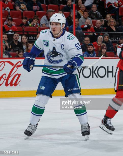 Bo Horvat of the Vancouver Canucks skates against the Ottawa Senators at Canadian Tire Centre on February 27, 2020 in Ottawa, Ontario, Canada.