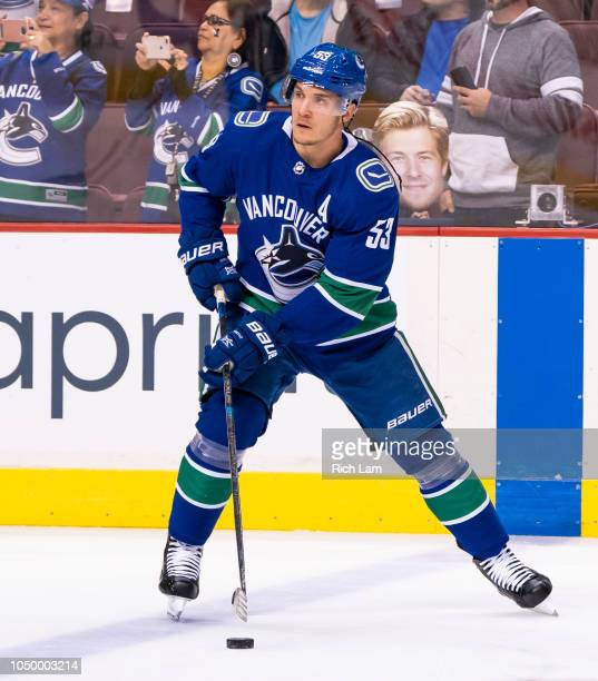 Bo Horvat of the Vancouver Canucks skates during the pregame warmup prior to NHL action against the Calgary Flames on October 2018 at Rogers Arena in...