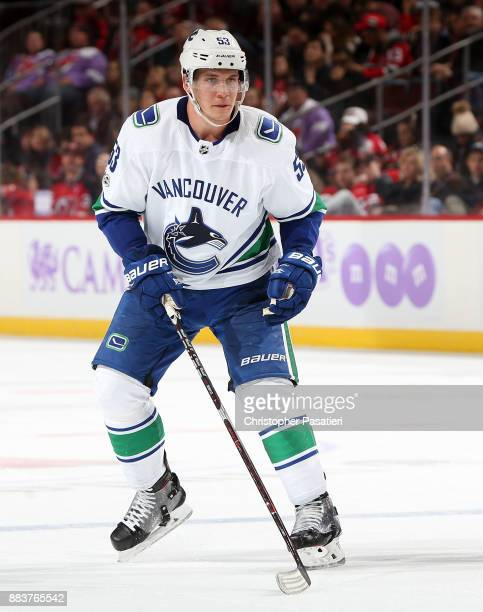 Bo Horvat of the Vancouver Canucks skates during the third period against the New Jersey Devils on November 24 2017 at the Prudential Center in...